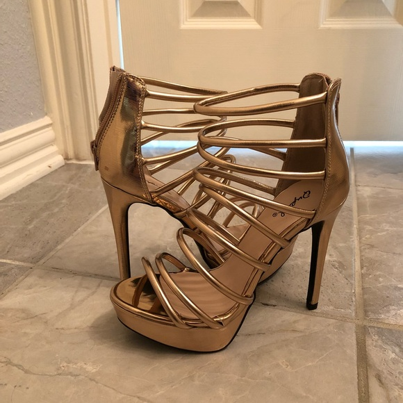 Gold Strappy Platform Heels Size